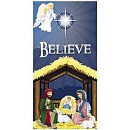 "6' NATIVITY Scene ""BELIEVE"" DOOR BANNER/Christmas DECORATION/Holy Family/3' x 6' HOLIDAY DECOR/VINYL"