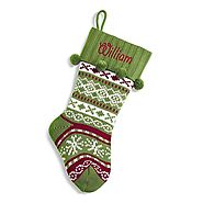 Personal Creations - Personalized Green or Red Knit Argyle Stocking