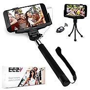 Selfie Stick EEZ-Y Battery Free Self Portrait Monopod w/ Built-in Shutter & Adjustable Phone Holder for iPhone, S...
