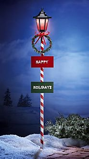 Solar Happy Holidays Lamp Post