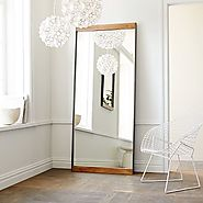 Metal + Wood Floor Mirror $429