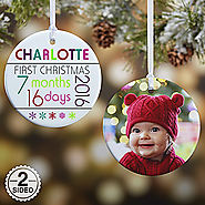 Personalized Baby's First Christmas Ornaments - Baby's Age - 2-Sided