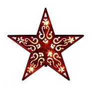"8"" Lighted Red Cut-Out Design Decorative Star Christmas Tree Topper - Clear Lights"