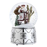 Reed & Barton 5345 Nordic Santa Snow Globe, 6.75-Inch, Plays We Wish You a Merry Christmas
