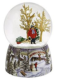 "Merry Christmas Snowy Woodland Scene Music Snow Globe Glitterdome - 5.5"" Tall 100MM - Plays Tune Over the River and T..."