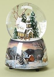 "5"" Musical ""The First Noel"" Church Winter Scene Christmas Snow Globe Glitterdome"