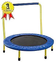 "Portable & Foldable Trampoline - 36"" Dia. Durable Construction Safe for Kids with Padded Frame Cover and Handle / 1 Y..."