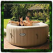 Hot Tub Spa Intex 4-person Inflatable Portable Heated Bubble Soft Pure Massage Person 4 Inflatable Step Steps Bubble ...