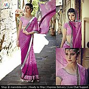 Pink colour Chiffon and Brasso Saree