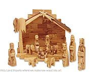 Olive Wood Nativity Set with Rustic Stable (Bark Roof)