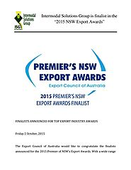 "Intermodal Solutions Group is finalist in the ""2015 NSW Export Awards"""