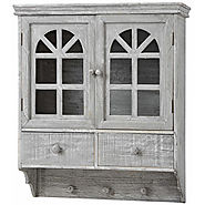 Hill Interiors Wash Wooden Wall Mounted Cabinet with Hooks and Drawer