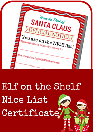 elf on the shelf nice list certificate printable