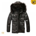 Mens Leather Hooded Down Jacket CW880003 - cwmalls.com