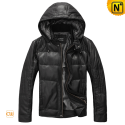 Black Leather Down Jacket with Hood CW874130
