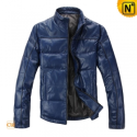 Mens Leather Down Jacket Blue CW872248 - cwmalls.com