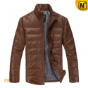 Brown Leather Down Jacket Men CW871175 - cwmalls.com