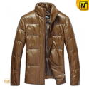 Mens Fill Down Leather Jacket CW831010 - cwmalls.com