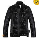 Black Down Leather Jacket CW866880 - cwmalls.com