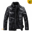Black Leather Down Jacket CW872256 - cwmalls.com
