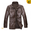Mens Leather Down Jacket CW872199 - cwmalls.com