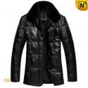 Mens Padded Down Jacket Leather CW866313 - cwmalls.com