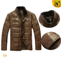 Brown Down Leather Jacket CW880028 - cwmalls.com