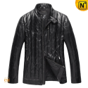 Classic Black Down Leather Jacket CW831028 - cwmalls.com