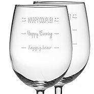 Happy Evening - Happy Couple Funny Etched Wine Glass - CLICK HERE FOR PRIICNG