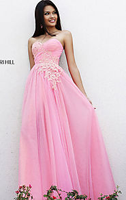 Cheap Floral Beaded Pink/Peach Tulle Sherri Hill 11114 Long A-Line Evening Gown [Sherri Hill 11114 Pink/Peach] - $190...
