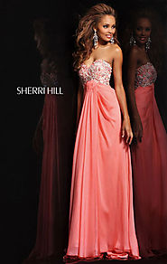 Beaded Sherri Hill 3863 Cheap Strapless Coral Long Bodice Prom Dresses [Sherri Hill 3863 Coral] - $175.00 : 2016 cust...