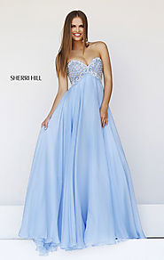 Cheap Blue Beaded Sweetheart-Neck Sherri Hill 11113 Chiffon Long A-Line Prom Dresses