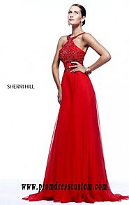 Open-Back Red High-Neck Cheap Beaded Sherri Hill 21338 Long Bodice Prom Dresses [Sherri Hill 21338 Red] - $170.00 : 2...