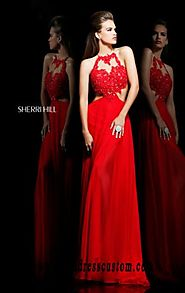Cheap Jeweled Open-Back Sherri Hill 21309 Cutout Red/Nude Long Evening Gown