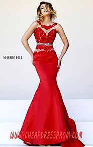 Red/Nude V-Back Sherri Hill 32033 Bateau-Neck Beading Discount Long Prom Dresses