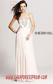 Discount Blush Straight-Neck Sherri Hill 1900 Bodice Long Pleated Prom Dresses