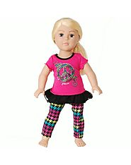 """Love and Peace"" Legging Set Doll Clothes Outfit for 18 inch Play Dolls"