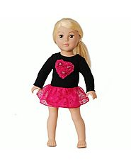 """Glittery Heart"" Sweater Doll Clothes Outfit for 18 inch Play Doll"
