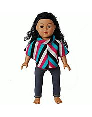 """Knit Poncho"" Doll Clothes Outfit for 18 inch Play Doll"