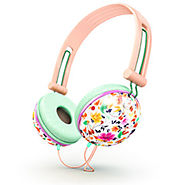 Pastel peach floral Headphones