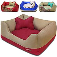 Blueberry Pet Microsuede Pet Bed, Recyclable & Removable Stuffing w/YKK Zippers, Machine Washable, for Cats & Dogs, 2...