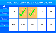 Matching Percent With Fractions or Decmials