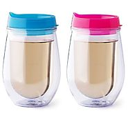 Double Wall Insulated 10 oz Tumbler Stemless Wine Glass with Lid 2 Pack - CLICK HERE FOR PRICING