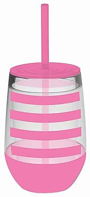 Slant Pink Preppy Stripe Double Wall Acrylic Stemless Wine Glass With Straw - CLICK HERE FOR PRICING
