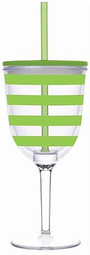 Slant - Preppy Green Stripe Double Wall Acrylic Wine Glass With Straw - CLICK HERE FOR PRICING