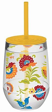 Multi Color Floral Double Wall Acrylic Stemless Wine Glass With Yellow Lid And Straw - CLICK HERE FOR PRICING