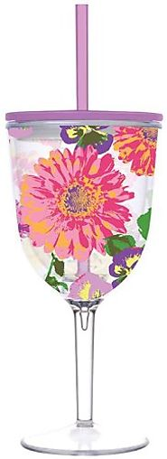 Garden Retreat Double Wall Acrylic Wine Glass With Straw - CLICK HERE FOR PRICING