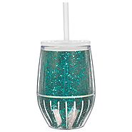 Slant 10oz Double Walled Stemless Wineglass Turquoise Glitter by Slant