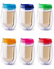 Bev2Go Insulated 10 oz Tumbler Stemless Wine Glass with Lids 6 Pack Gift Set