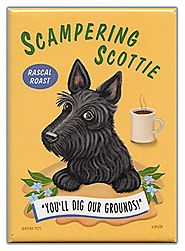 Retro Dogs Refrigerator Magnets: SCOTTIE | COFFEE | Vintage Advertising Art